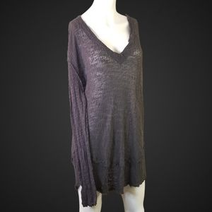 We The Free Charcoal Lace-Knit Oversized Tunic M
